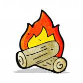 Cartoon burning wood logs — Stock Vector
