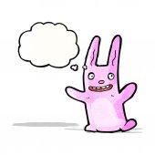 Cartoon crazy pink rabbit — Stock Vector