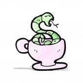 Cartoon snake in tea cup — Stock Vector