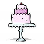 Cartoon cake on cakestand — Stock Vector