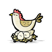 Cartoon chicken on nest of eggs — Vector de stock