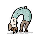 Cartoon man bending double — Stock Vector