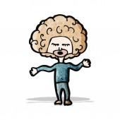 Cartoon big hair boy — Stock Vector
