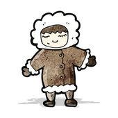 Cartoon man in winter fur coat — Stock Vector
