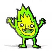 Cartoon green flame spirit — Stock Vector