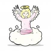 Cartoon angel old cloud — Stock Vector