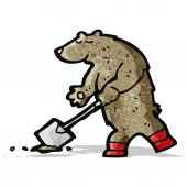 Digging bear cartoon — Stock Vector