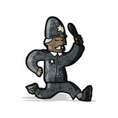 Cartoon running policeman — Stock vektor