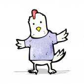Cartoon chicken in t shirt — Stock Vector