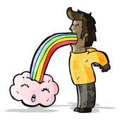 Cartoon man vomiting cloud — Stock Vector