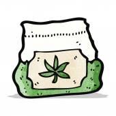 Cartoon bag of weed — Stock Vector