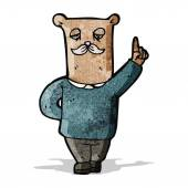 Cartoon old bear with idea — 图库矢量图片