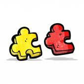 Jigsaw puzzle piece cartoon — Stock Vector