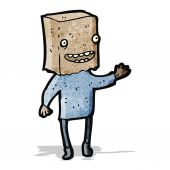 Cartoon man with paper bag on head — Stockvector