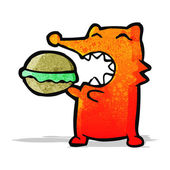 Cartoon fox eating burger — Stock Vector