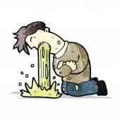 Cartoon man being sick — Stock Vector