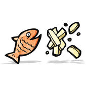 Fish and chips cartoon — Stock Vector