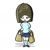Cartoon woman carrying shopping bags — Stock Vector