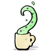 Cartoon tentacle in teacup — Stock Vector