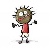 Cartoon nervous doodle man — Stock Vector