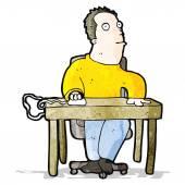 Cartoon bored office worker — Stock Vector