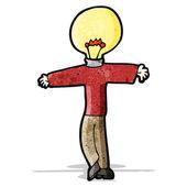 Cartoon man with light bulb for head — Stock Vector