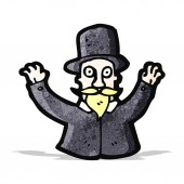 Cartoon victorian magician — Vetor de Stock