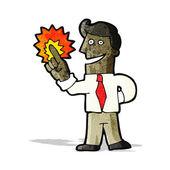 Cartoon businessman with great idea — Stock Vector