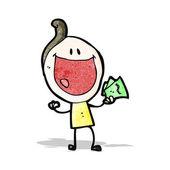 Cartoon happy doodle man holding cash — Stock Vector