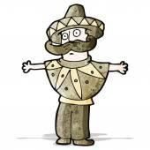 Cartoon man in mexican costume — Stock Vector