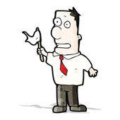 Cartoon man waving white flag — Stock Vector