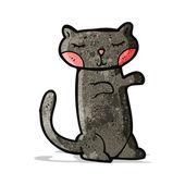 Süße schwarze katze cartoon — Stockvektor
