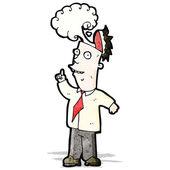 Hombre de dibujos animados con cerebro recalentado — Vector de stock