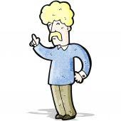 Cartoon mustache man with idea — Stock Vector