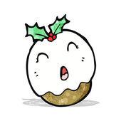 Cartoon christmas pudding — Stock Vector