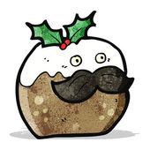 Christmas pudding cartoon character — Stock Vector