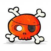 Cartoon pirate skull — Stock Vector