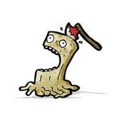 Cartoon axe in screaming tree stump — Vecteur