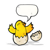 Cartoon chick hatching from egg — Stock Vector