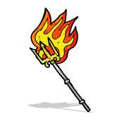 Cartoon flaming trident — Stock Vector