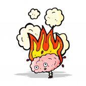 Flaming brain cartoon — Stock Vector