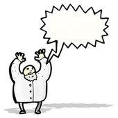 Cartoon shouting mad scientist — Stock Vector