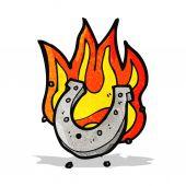 Flaming horseshoe cartoon — Stock Vector