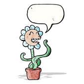Cartoon flower with speech bubble — Stock Vector