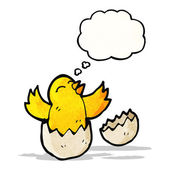 Hatching chick with thought bubble — Stock Vector