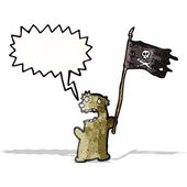Cartoon teddy bear with pirate flag — Stock Vector