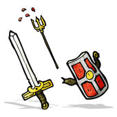 Cartoon medieval weapons — Stock Vector