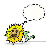 Cartoon sunflower with thought bubble — Stock Vector