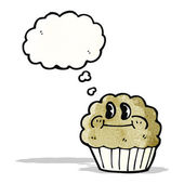 Cartoon muffin with thought bubble — Stock Vector