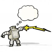 Robot with thought bubble cartoon — Wektor stockowy